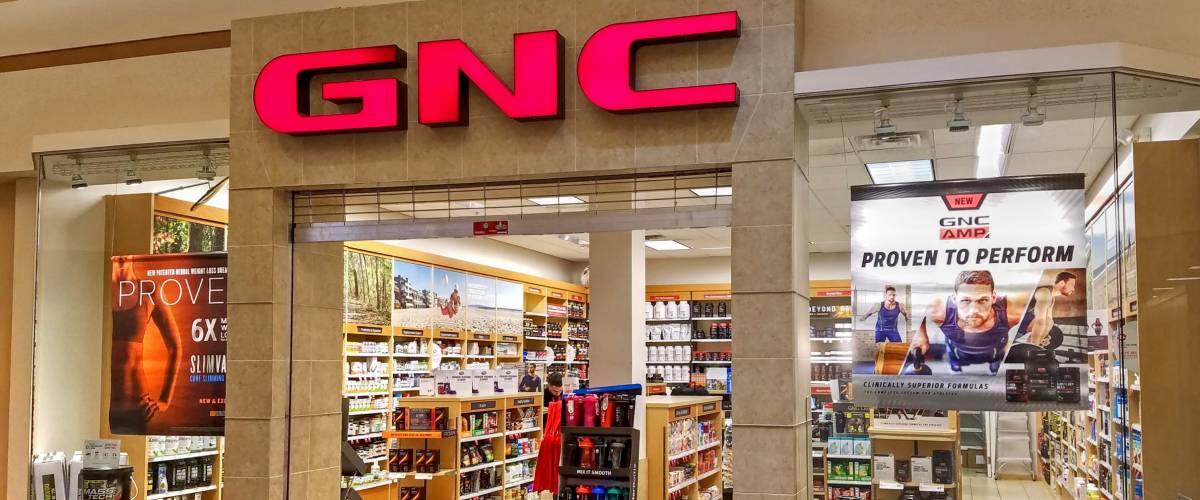 HDR image, GNC vitamin nutrition storefront, shopping mall - Woburn, Massachusetts USA - February 14, 2018